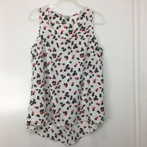 Halogen Flowy Spotted Sleeveless Blouse Size Med